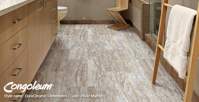 Congoleum® Style Name: DuraCeramic Dimensions | Color: River Marble.